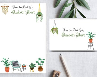 Plant Lady Notepad Set. Plant Lady Notecards.  Holiday Stationery Gift.  Customized Notepads. Plant Love gifts