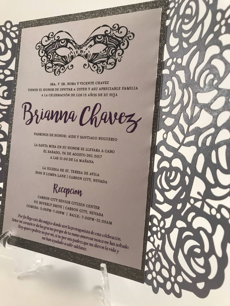 15 Birthday Invitation Purple Quinceanera Invite Masquerade Spanish Sweet 16