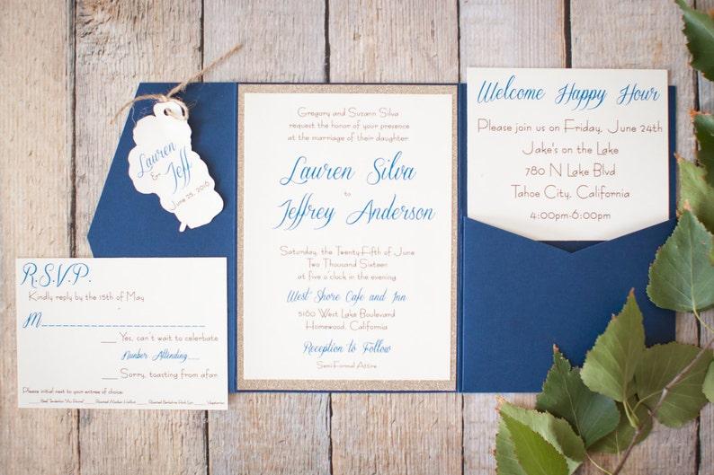 Navy and gold invitation set Lake Tahoe Wedding invitation
