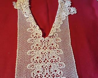 Antique Lace Bodice Insert Ecru Cream Embroidered Lace Collar Reuse Repurpose Sewing Fashion