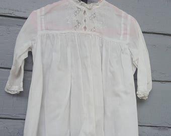 Antique White Cotton Fancy Infant Doll Girls Dress Ruffles Costume Photo Prop