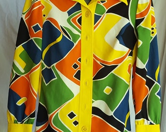 Vintage Ladies Blouse Shirt Button Front Long Sleeves Modern Abstract Yellow Green Orange White By Winds