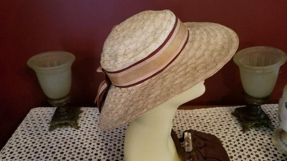 Vintage Ladies Straw Tan Blonde Colored Wide Brim… - image 2