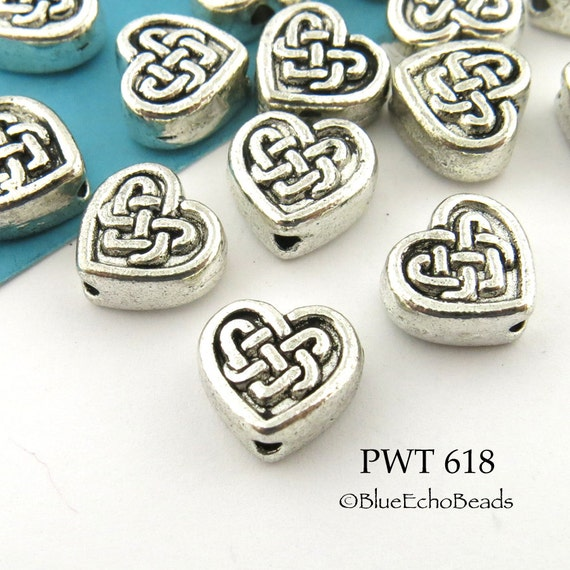 50PCS Antiqued Silver Metal Double Spirial Heart Design Flat Round Beads 10mm