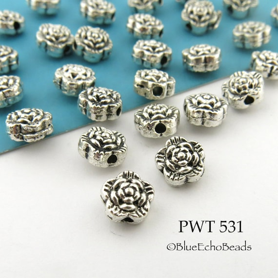 14pcs antiqued silver pattern spacer beads G1160