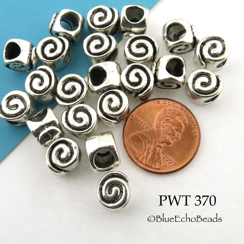 9mm Large Hole Pewter Spiral Beads Antique Silver PWT 370 4mm Hole BlueEchoBeads 10 pcs