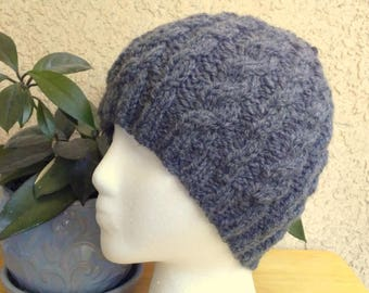 8c863bbd3fb Classic Gray Hat. Knit Hat. Wool Acrylic Medium Gray Heather Cable Beanie.  Beanies for Men. Womens Hats. Mens Hats. Beanies for Women.