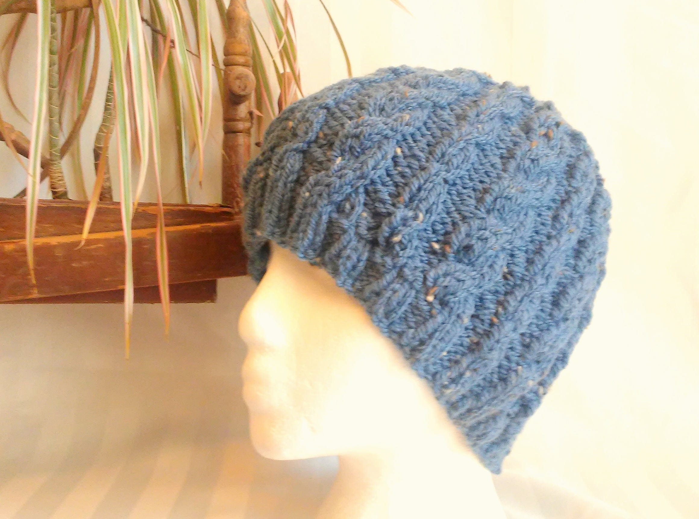 a2e6a3bf331 Dark Denim Blue Tweed Hat. Ready to Ship. Hand Knit Cable
