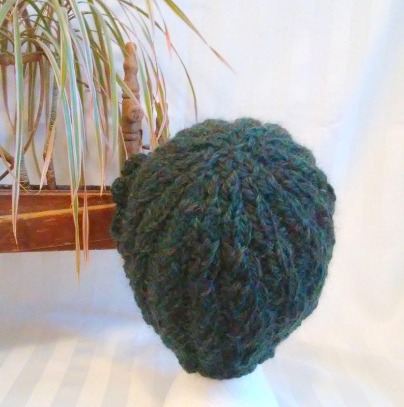 9d49145f2d8 Handspun Cable Knit Beanie. Winter Hat. Dark Green Heather.