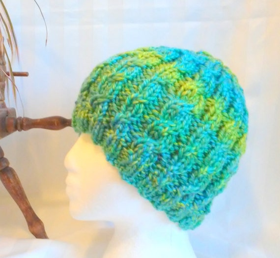 34281369963 Lime Green Cable Beanie. Hand Knit Hat. Beanies for Women.