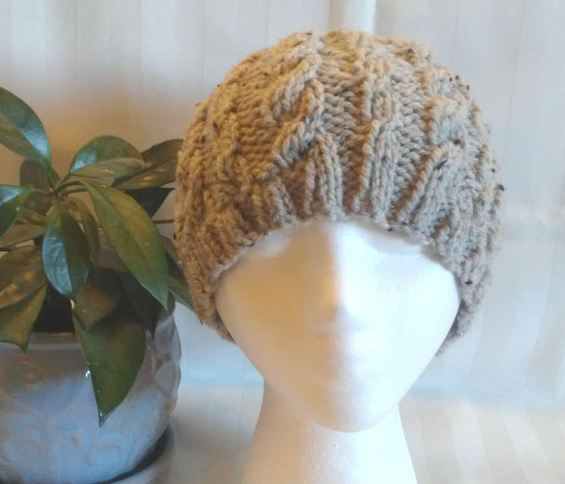 Beanies for Men Natural Beige Tweed WoolAcrylic Cable Beanie Beanies for Women. Womens Hats Beige w bits of Black Tweed Mens Hats