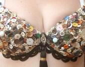 Belly Dancer Handmade Tribal Fusion Button Bra SALE