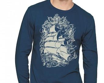 Pirate Ship Mens Long Sleeve T-shirt, Nautical, Sailing Ship, Unisex, Indigo Blue, Tall Ship, Gift, Art T-shirt