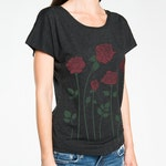 Roses T-shirt, Boxy, Relaxed fit, Dolman sleeve Women's Black graphic tee, Gift for Her, Art T-shirt, Cool t-shirt