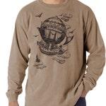Airship, Men's long sleeve t-shirt, Vintage Steampunk T-shirt,  Khaki t-shirt, Gift for Him, Art T-shirt, Cool t-shirt