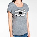 Black Sheep Women's Boxy, Flowy Tee, Grey Tri-Blend Short-Sleeve Scoop Neck Tee, Gift for Her, Art T-shirt, Cool t-shirt