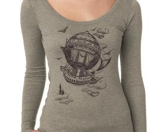 SALE Hot Air Balloon, Airship shirt, Vintage Steampunk, Dirigible design, Women's Long Sleeve T-Shirt