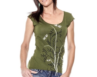Dragonflies t-shirt, Flora Cap Sleeve Olive Green Womens scoop neck-shirt, Gift for Her, Spring Fashion