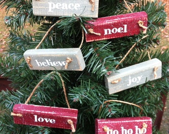 Set of Six 6 Christmas Ornament Blocks Love Peace Joy Ho Ho Ho Noel Believe Painted Wood not available in time for Christmas