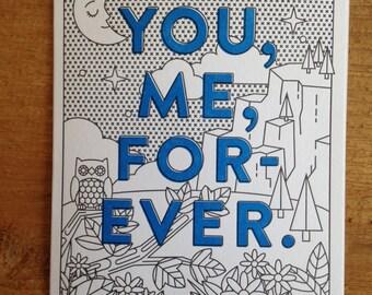 You, Me, Forever Letterpress Card