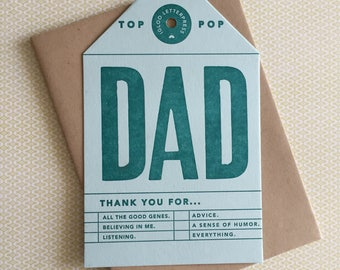 Dad Letterpress Card/Tag