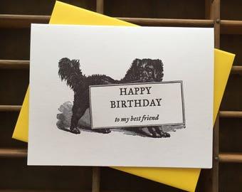 Dog Best Friend Birthday Letterpress Card