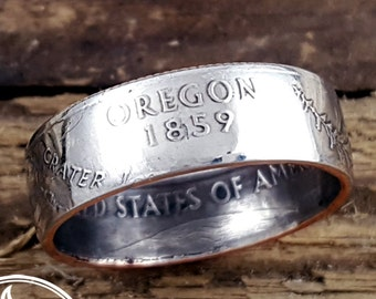 Oregon Coin Ring - Oregon Quarter Ring - State Quarter Rings - US Coin Rings - Oregon Ring - Oregon Jewelry - Going Away Gift for Her