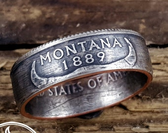 Montana Coin Ring - State Quarter Ring - State Coin Ring - Montana Jewelry - Montana Ring - Going Away Gift for Her - Coin Jewelry