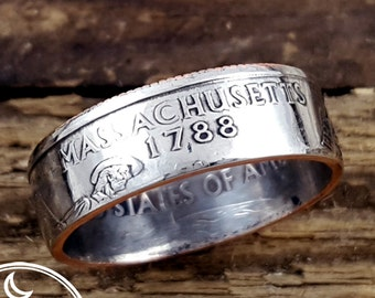 Massachusetts Coin Ring - State Quarter Coin Ring - Double Sided Coin Ring - Massachusetts Jewelry - Going Away Gift for Him - Gift for Her