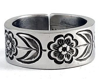 70's Flower Spoon Ring - Stainless Steel Spoon Ring - Flatware Jewelry - Floral Spoon Jewelry - Northland Country Lane Flatware