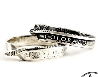 Silver State Coin Ring - Silver Twisted Ring - Silver Stacking Ring - Coin Jewelry