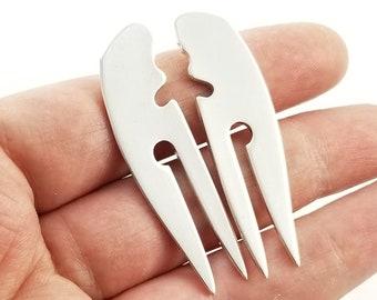 Sterling Silver Double Fork Earrings -  Silver Statement Earrings - Spoon Jewelry