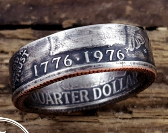 1776 1976 Coin Ring Bicentennial Quarter Coin Ring US Coin Ring