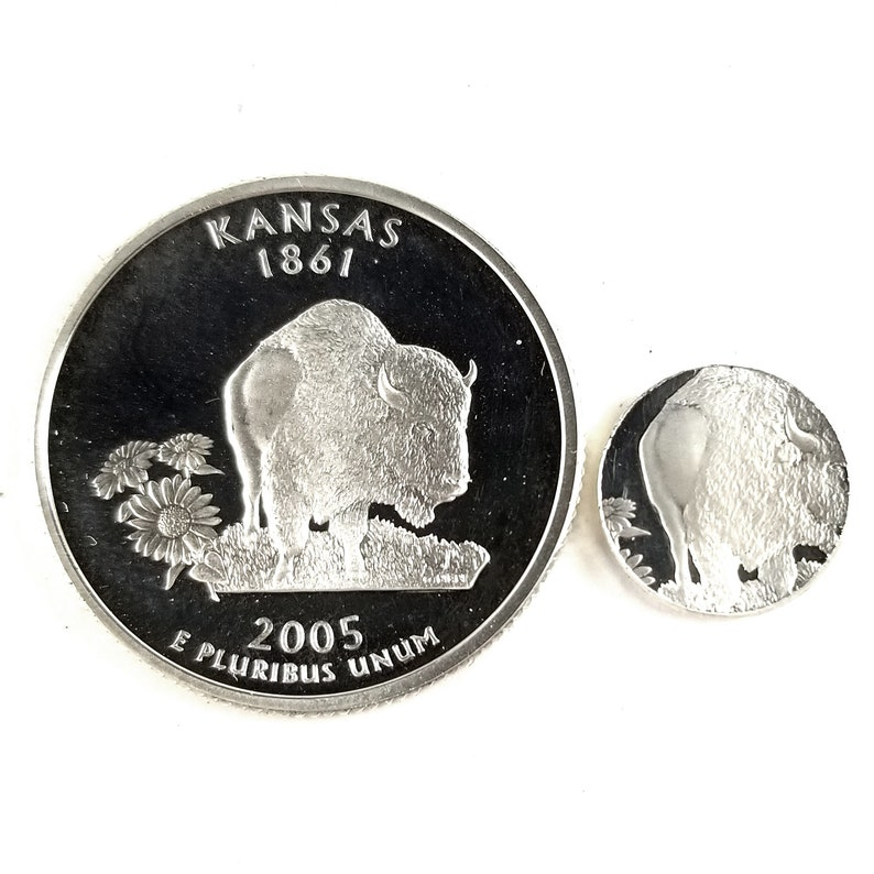 90/% Silver Kansas Coin Ring Silver Coin Ring Mens Coin Ring State Quarter Rings