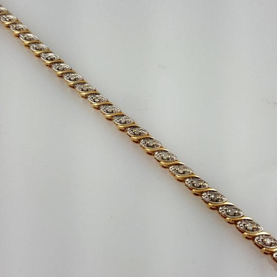 Vintage 10k Gold Diamond Tennis Bracelet Diamond Bracelet Etsy