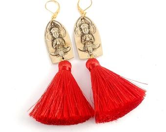 Vintage Siam Brass Spoon Earrings -Silk Tassel Earrings - Gold Dangle Earrings - Gold Flatware Jewelry