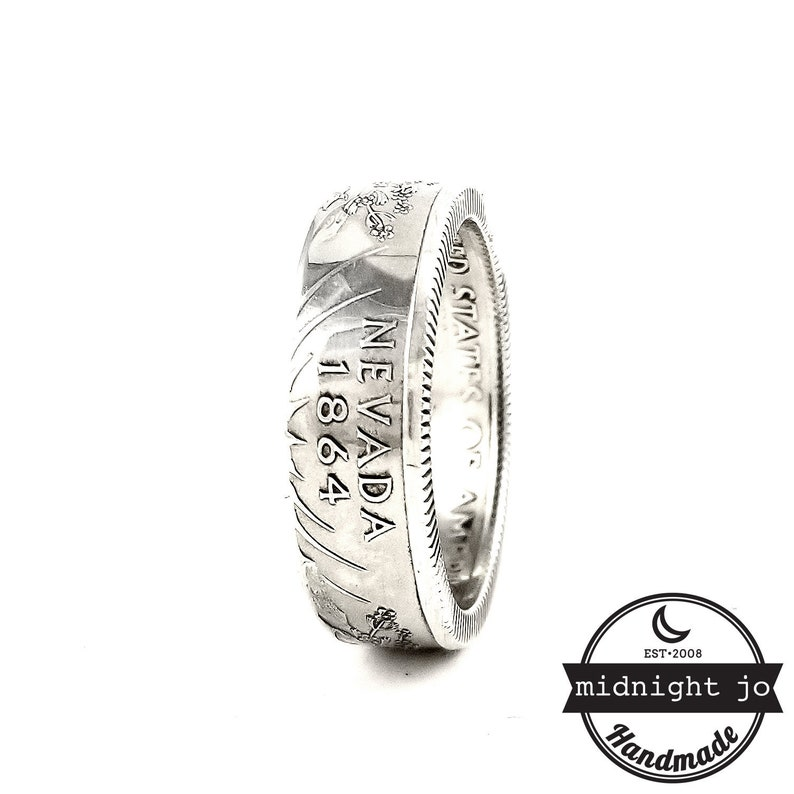 State Quarter Rings Silver Coin Ring 90/% Silver Nevada Coin Ring Matching Rings