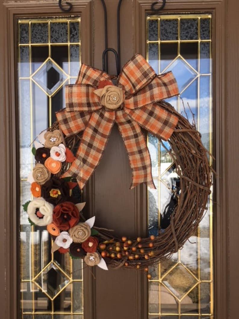 Fall Felt Flower Wreath Rust Poppy Front Door Wreath Poppy Etsy