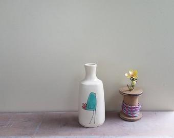 Aqua blue bird vase, bluebird vase, small bird flower vase, ceramic spring flower garden vase