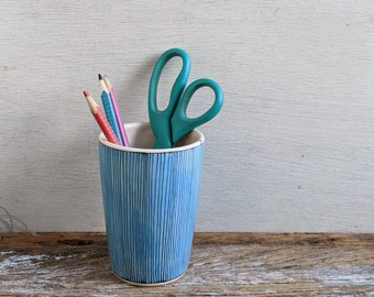 Pinstriped vase, BLUE, black line ceramic cup, geometric tumbler (#10)