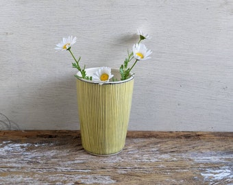 Pinstriped vase, YELLOW, black line ceramic cup, geometric contemporary tumbler (#8)
