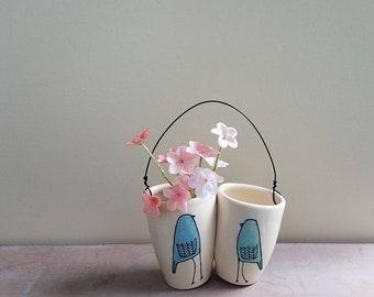 Spring bird vase, small bluebird  flower bud vase, hanging wall flower vase, spring home decor