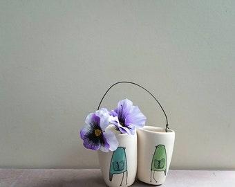 Spring bird vase, small blue and green flower bud vase, hanging wall flower vase, spring baby nursery decor
