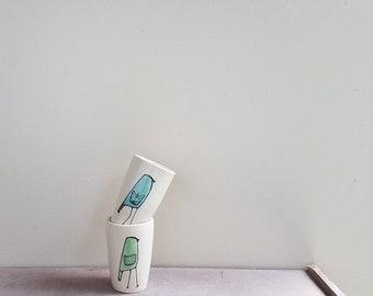Mini bird vase, a pair of small green and blue bird vases, stocking stuffer