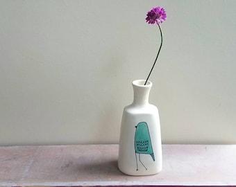 Turquoise blue bird vase, bluebird vase, small bird flower vase, ceramic spring flower garden vase