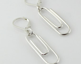 Sterling Silver Paper Clip Earrings - Paperclip Earrings - Geek, Geekery, Nerdy, Office Supply Lover