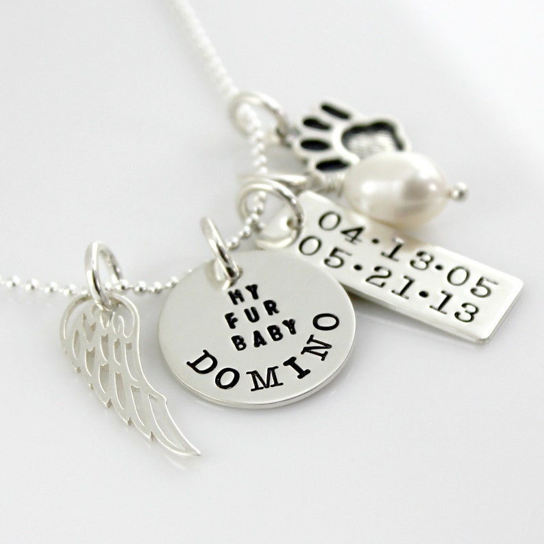 Pet Memorial Necklace hand stamped personalized pet tribute necklace Simply Charming My Fur Baby Necklace