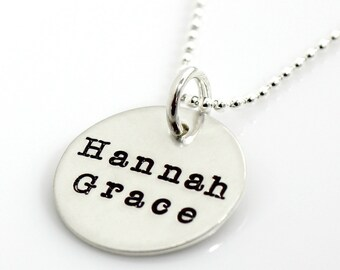One Disc Mother's Necklace - hand stamped and personalized sterling silver necklace with Typewriter font