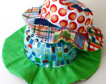 CLEARANCE - Wide brim sun hat for baby boys, floppy brim, blue with cars, ready to ship