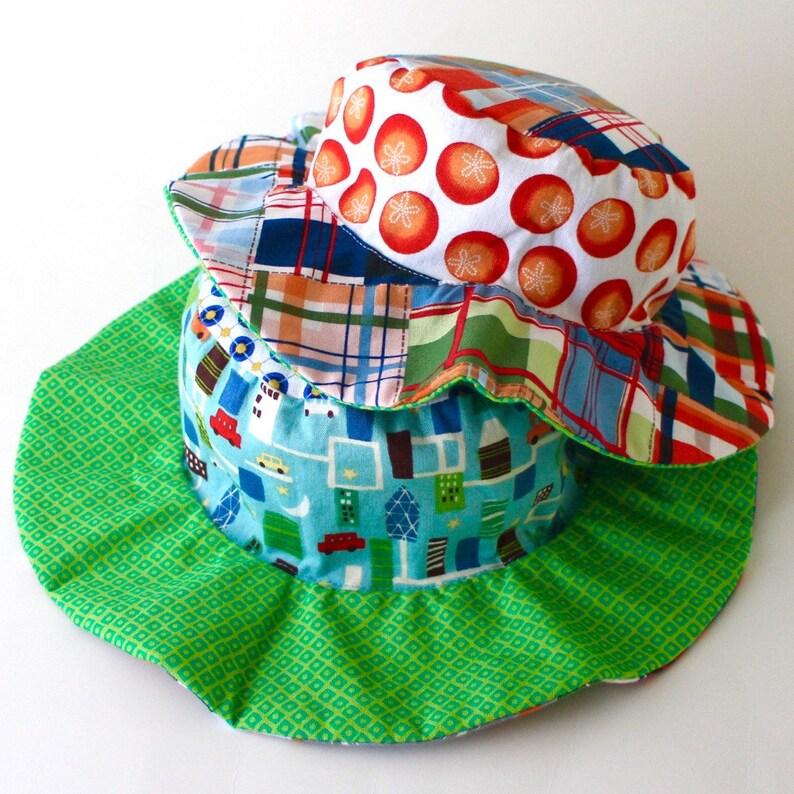 SALE  Wide brim sun hat for baby boys floppy brim blue with image 0